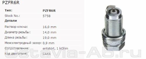 NGK PZFR6R для октавии 1.4