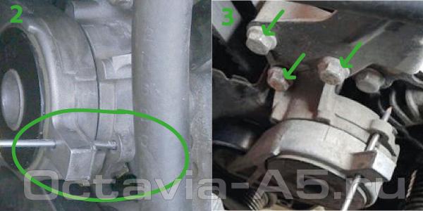 демонтаж натяжителя ремня генератора Octavia A5