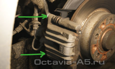 замена задних тормозных колодок шкода октавия а5