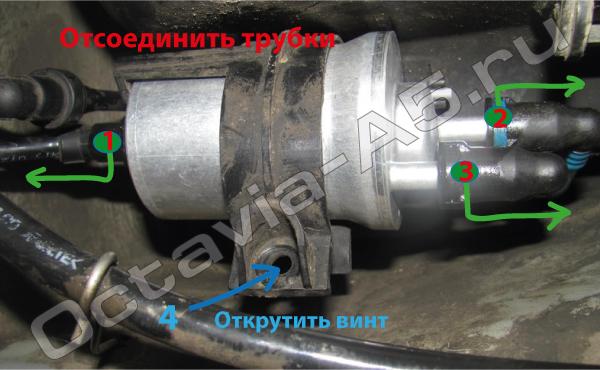 замена топливного фильтра на Шкоде Октавия А5